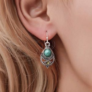 Jewelry - Antiqued Silver Turquoise Gem Boho Earrings